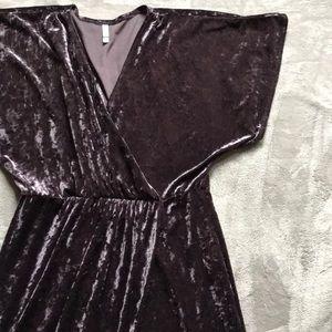 Purple Crushed Velvet Mock Wrap Dress